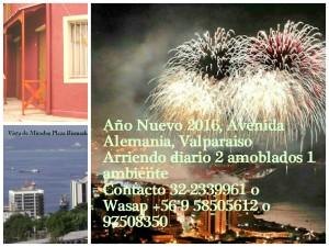 año nuevo 2016, arriendo diario amoblado 1 ambiente, valparaiso