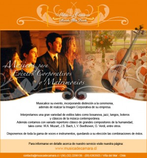 cantantes y músicos para misas cenas de matrimonio, concón